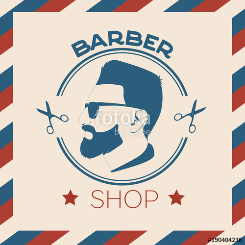 Barber clipart male hairdresser. Vector vintage shop logo