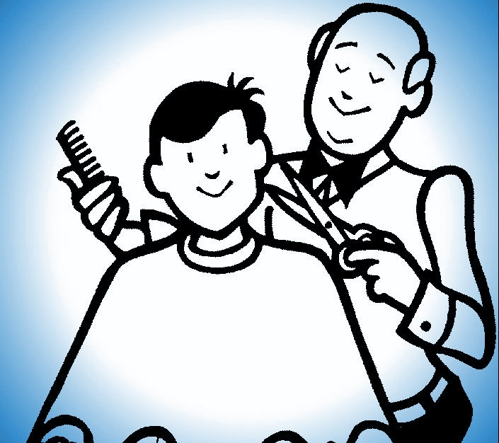 Story challenge a cow. Barber clipart trim hair