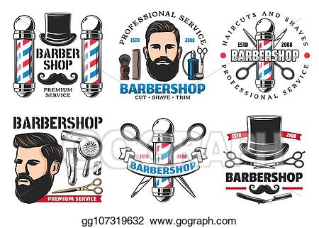 Vector shop signs icons. Barber clipart trim hair