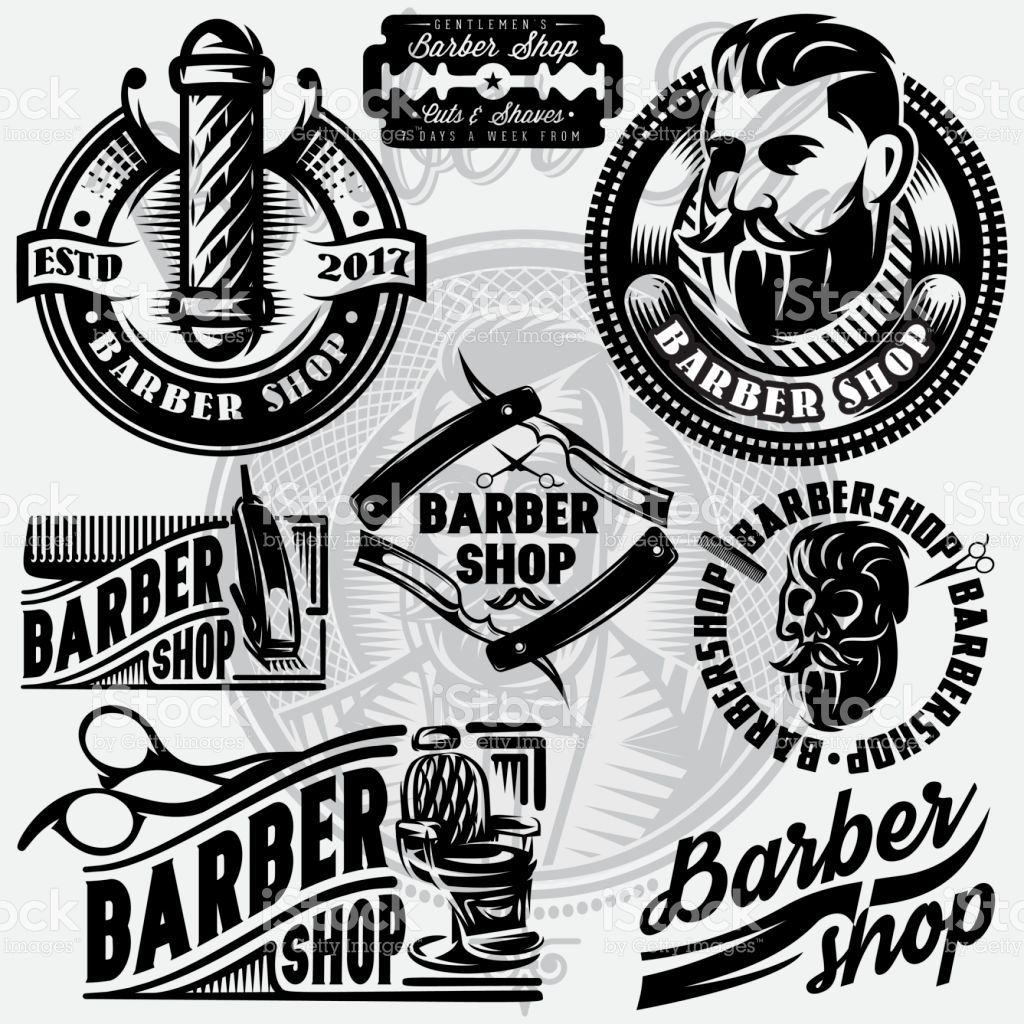 Set of templates for. Barber clipart vector