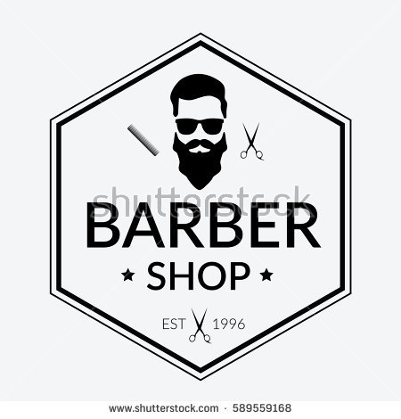 Logo pencil and in. Barber clipart vector