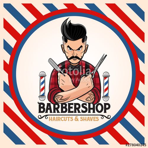 Hairstyle shop stock image. Barber clipart vector