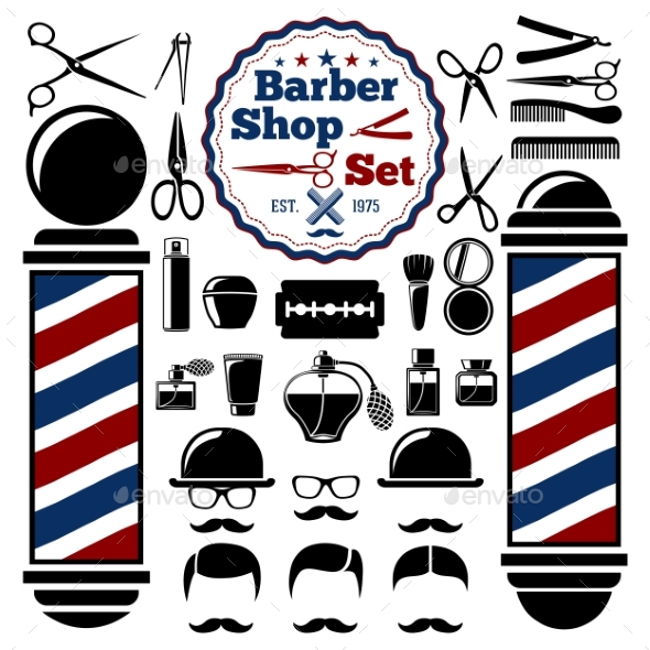 Shop accessories set by. Barber clipart vector