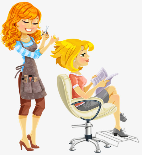 Barber clipart woman. Hairdressing simple png image