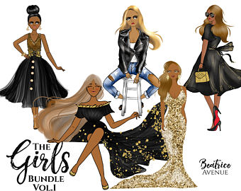 Barbie clipart african american. Fashion girl illustration planner