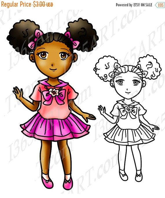Girl black afro puffs. Barbie clipart african american