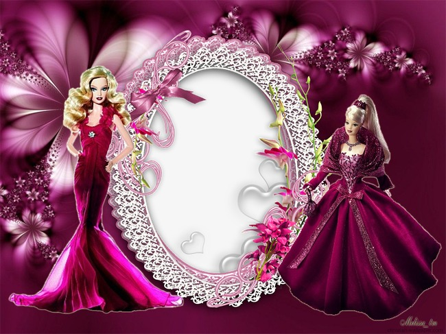 Frame border doll picture. Barbie clipart background