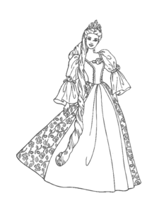 Princess coloring pages free. Barbie clipart black and white