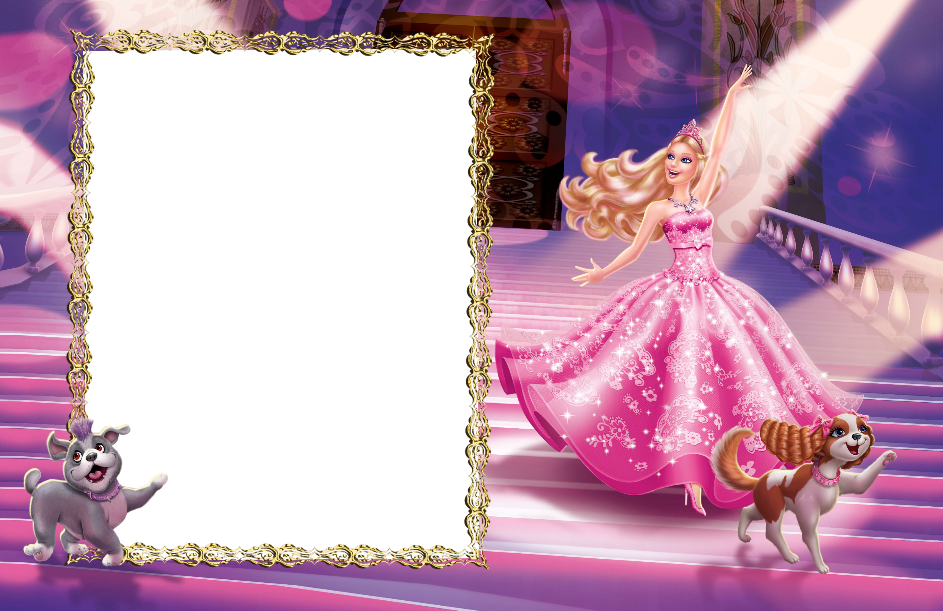 In pink transparent photo. Barbie clipart borders