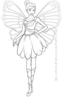 Fairy coloring pages mariposa. Barbie clipart butterfly