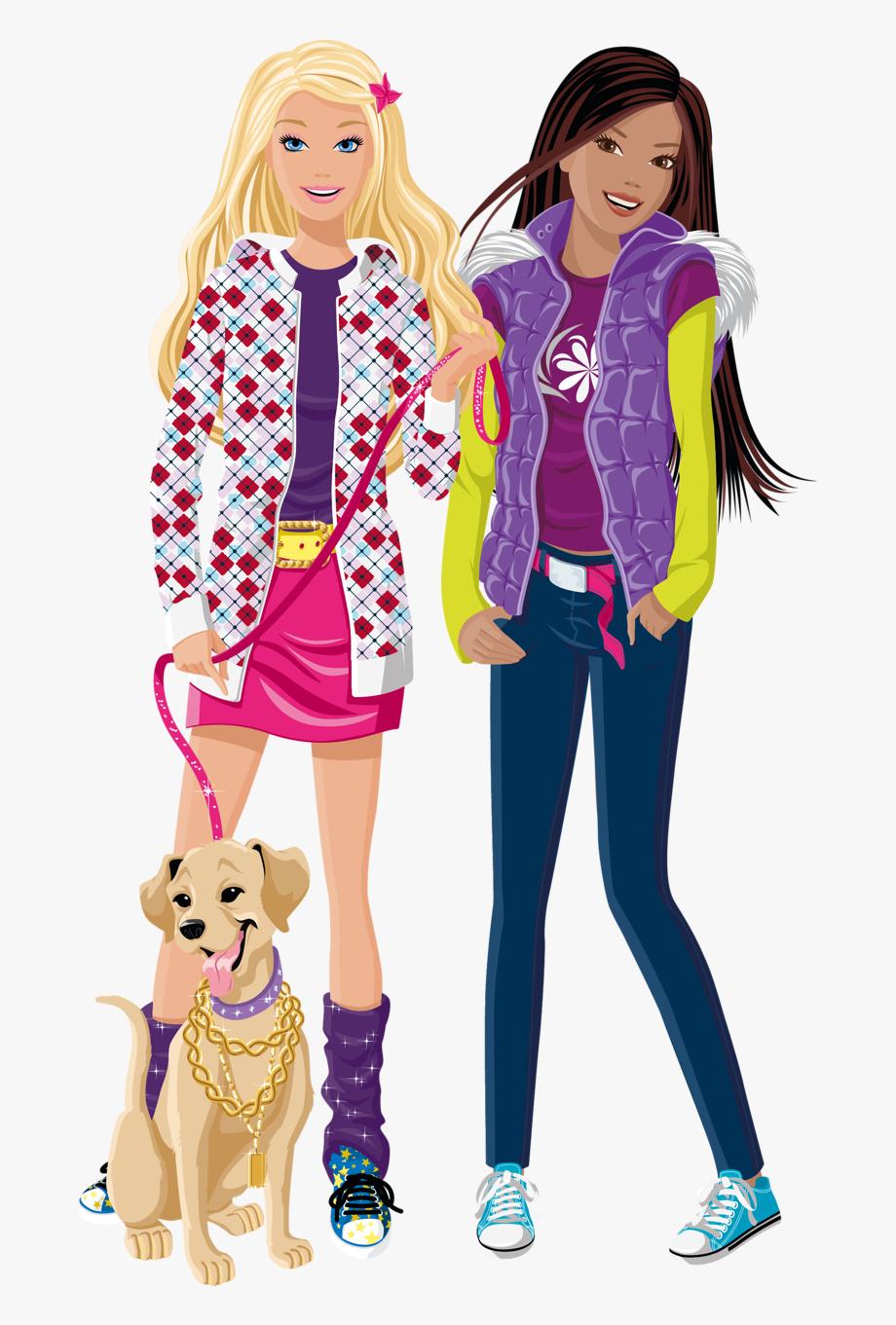 Barbie clipart carton. And friend image