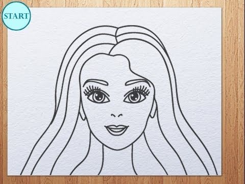Barbie clipart easy. How to draw face