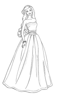 Barbie clipart easy. Princess coloring pages to