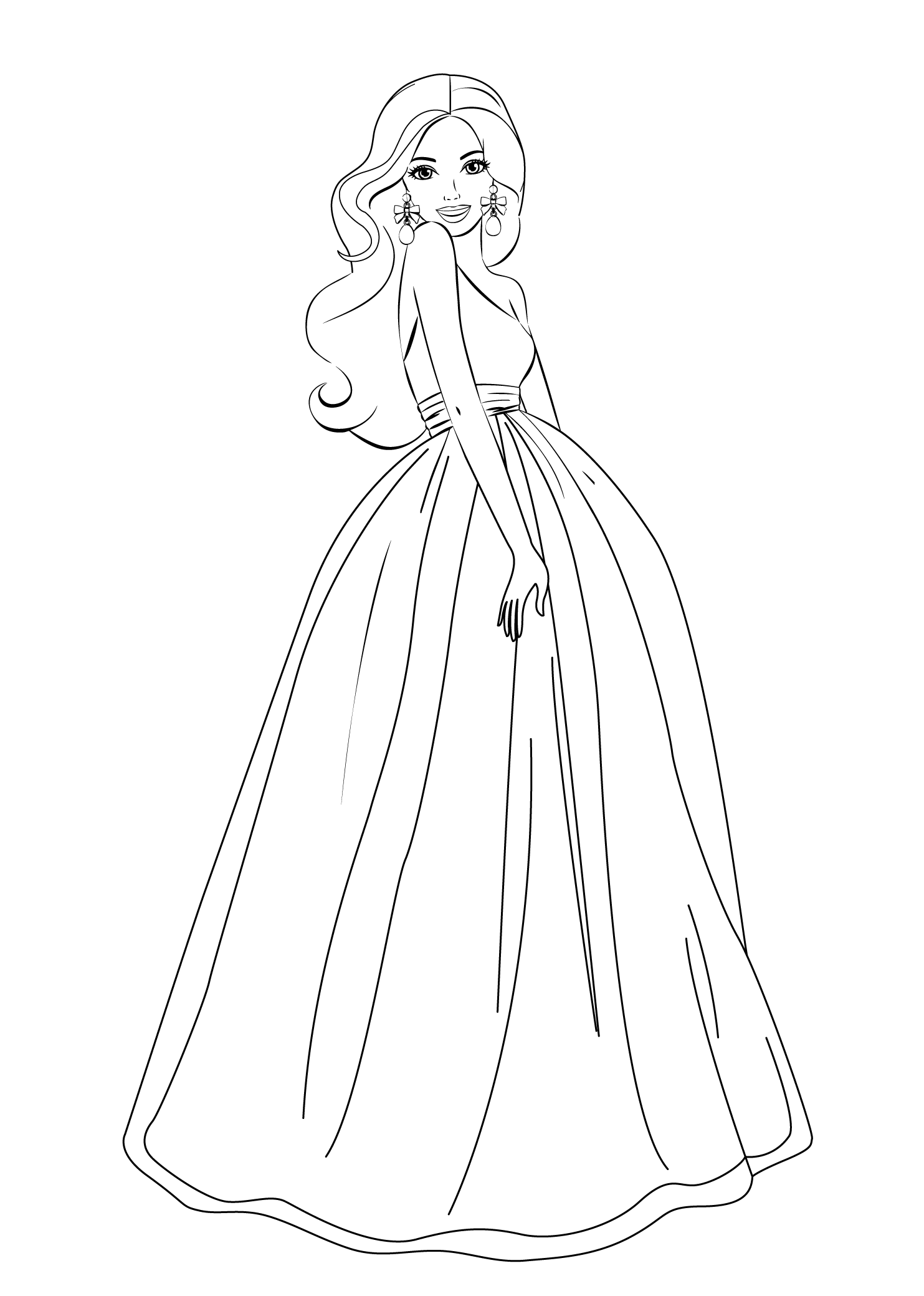Barbie clipart easy. Coloring pages sketches hellokids