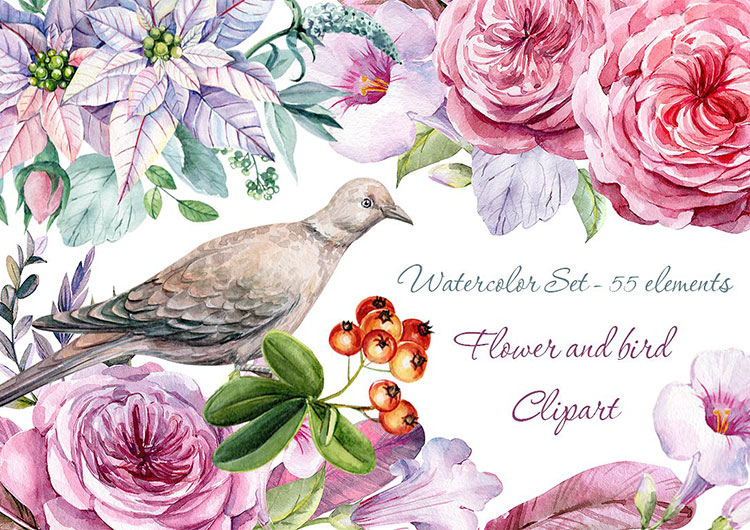 Barbie clipart flower. Bird watercolor perfectory edition