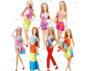 Barbie clipart group. Clip art fans