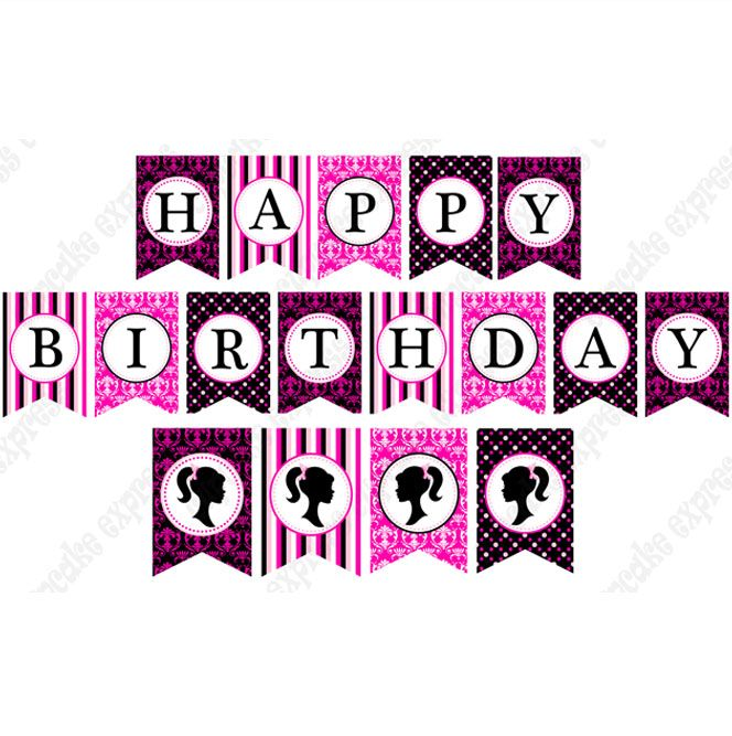 Barbie clipart happy birthday. Free printable banners inspired