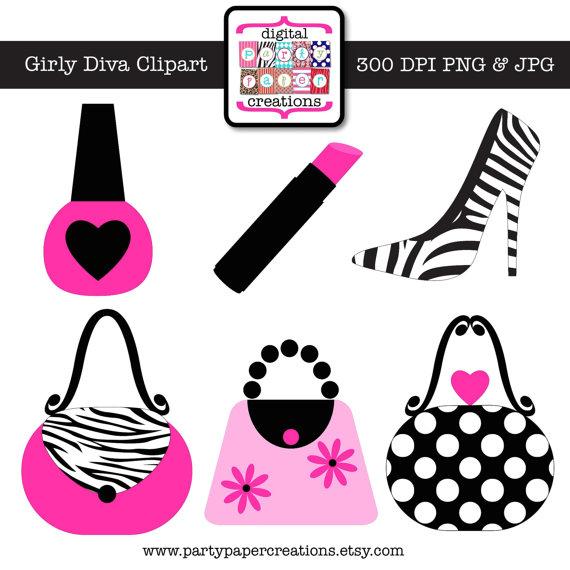Girly diva graphic design. Lipstick clipart purse
