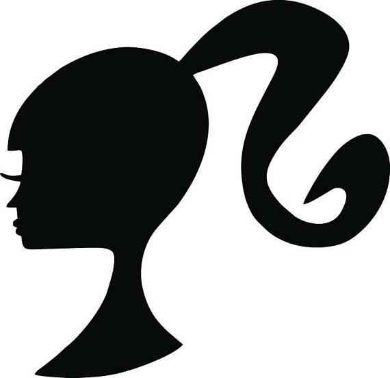 Barbie clipart silhouette. Svg logo digital this