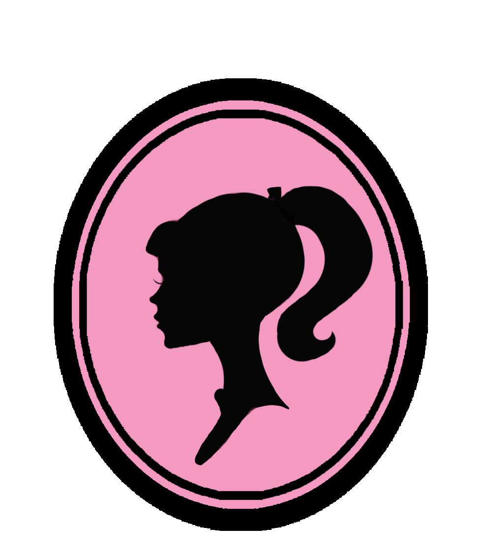 Barbie clipart silhouette. Original head logo obsessed