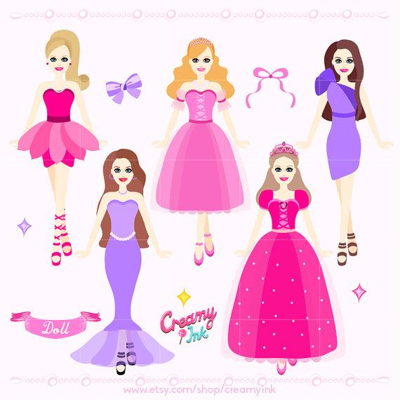 Dolls clipart. Doll digital clip art
