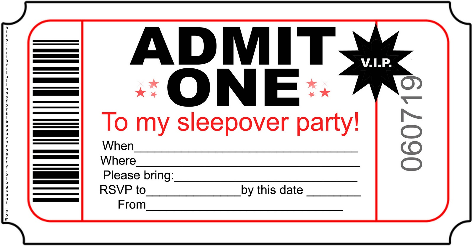 Barcode clipart admit one. Sleepover party invitations sansalvaje