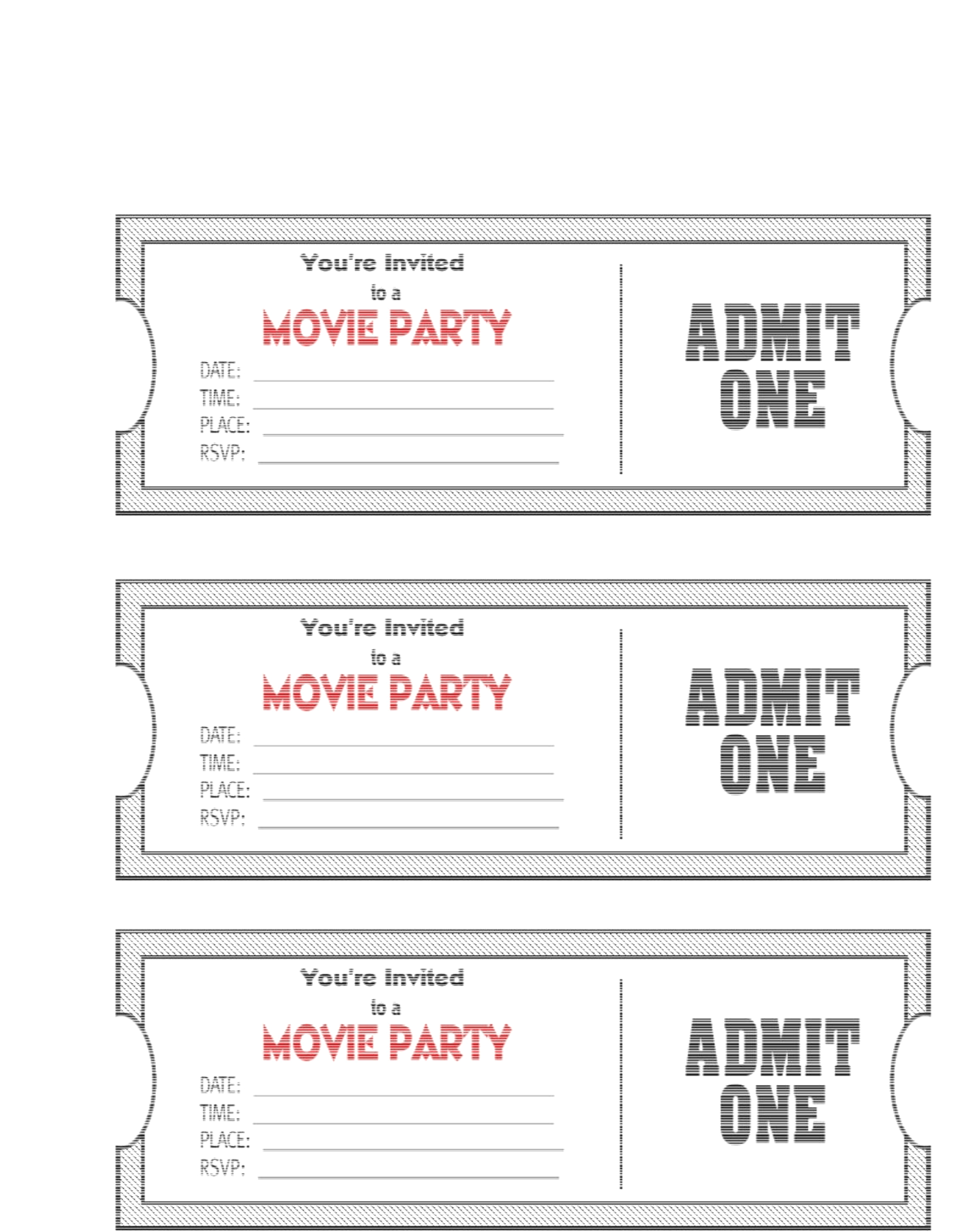 Invitation ticket template copy. Barcode clipart admit one