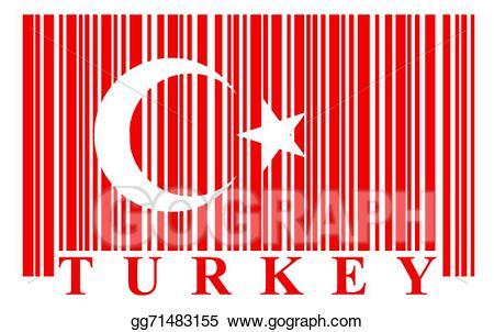 Eps illustration turkish flag. Barcode clipart french