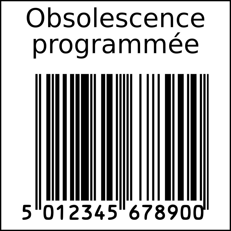 Planned obsolescence in squarre. Barcode clipart french