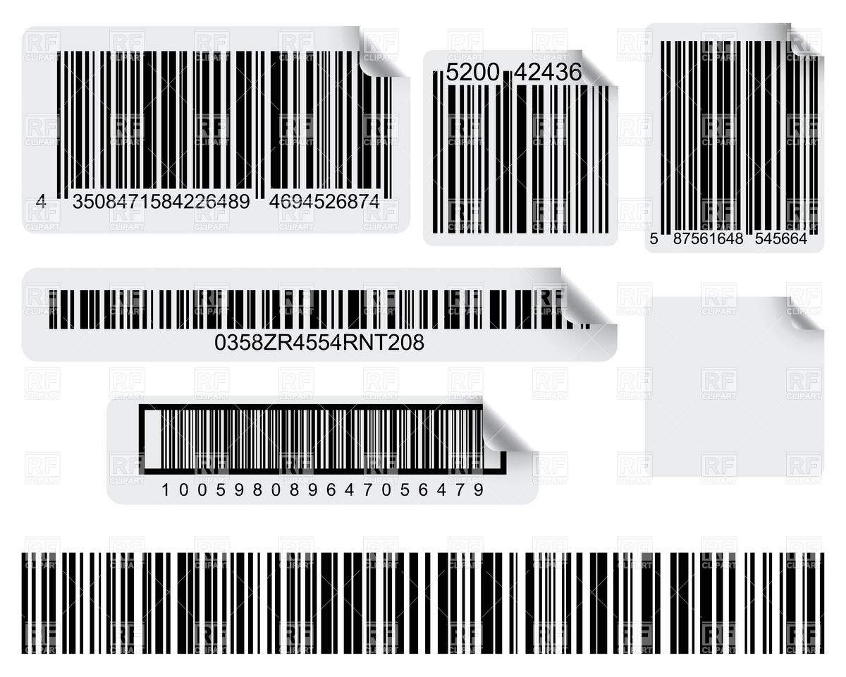 Label pencil and in. Barcode clipart royalty free