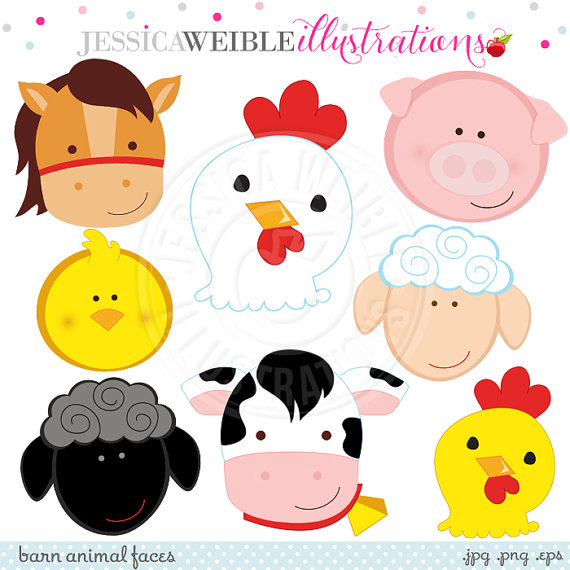Faces cute digital commercial. Barn clipart animal farm