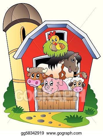 Clip art vector with. Barn clipart animal farm