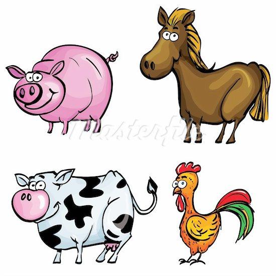 Cartoon animals . Barn clipart animated