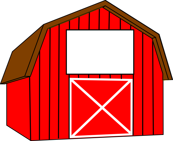 Red white clip art. Barn clipart animated