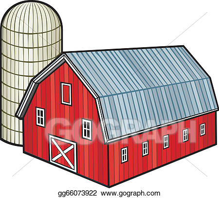 Eps vector red and. Barn clipart barn silo