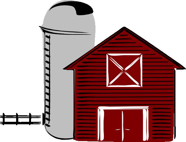 Black and white farm. Barn clipart barn silo