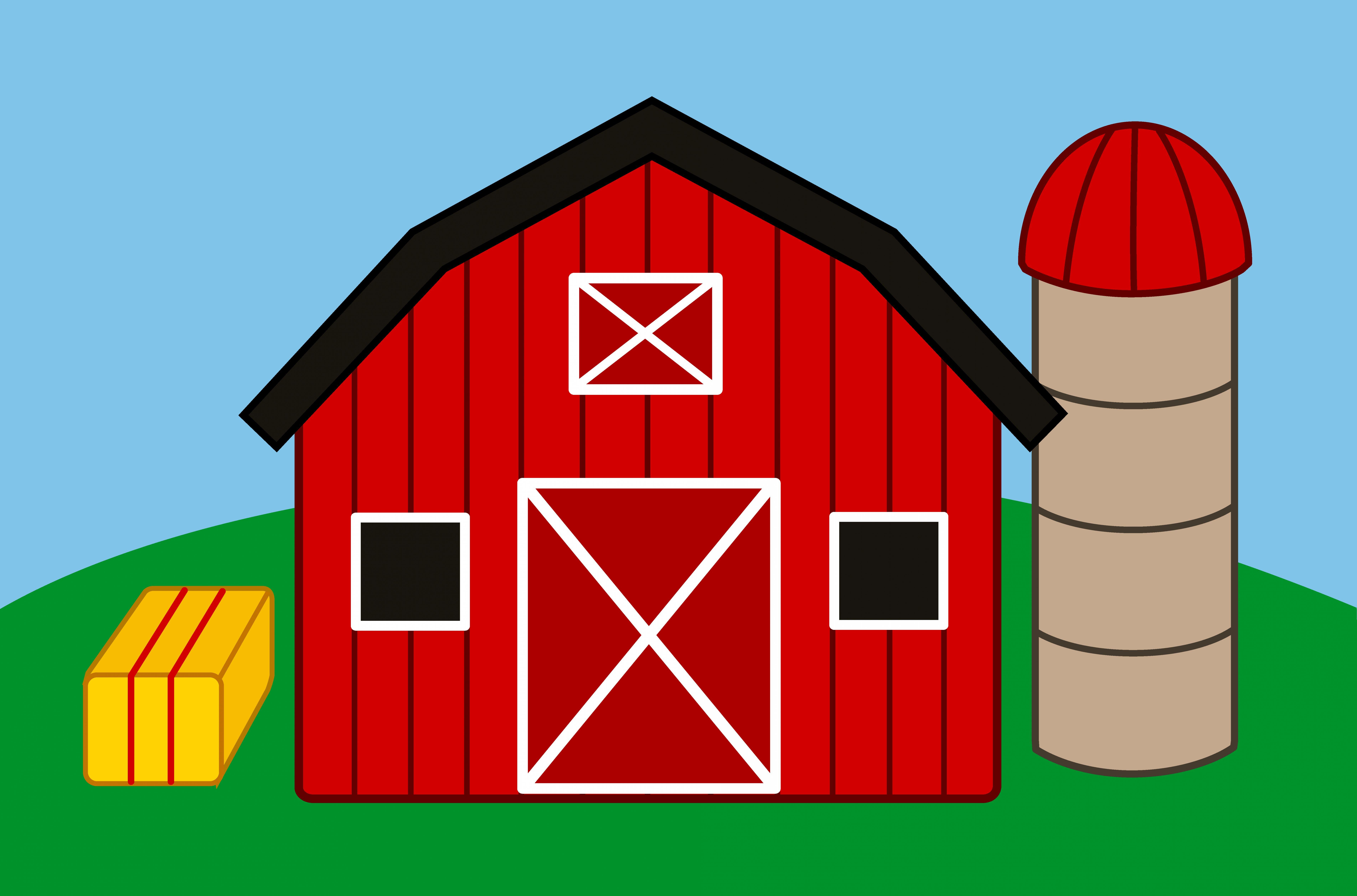 Cute farm with and. Barn clipart barn silo