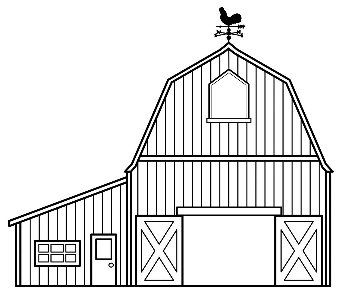 Barn black and white. Farmhouse clipart outline