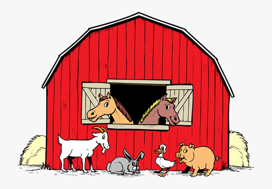 With animals transparent free. Barn clipart cartoon