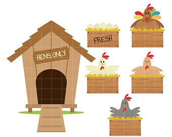 Barn clipart chicken. Chickens clip art etsy