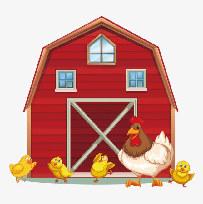 Vector farm hen chick. Barn clipart chicken
