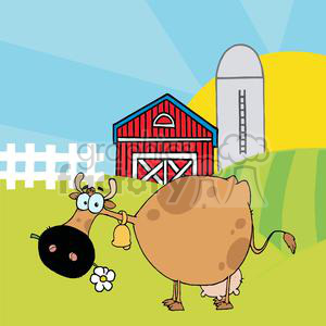 Cartoon character different color. Cow clipart barn