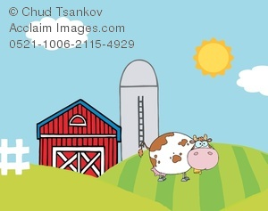 Barn clipart cow. A brown and white