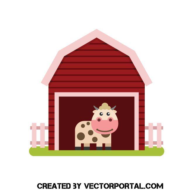 And a vector clip. Clipart cow barn