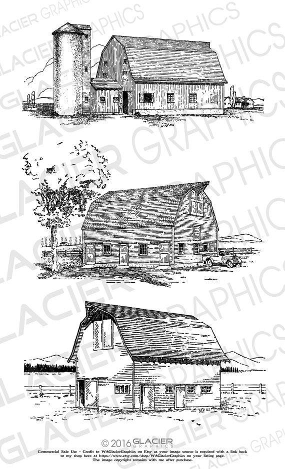 illustrations vintage vector. Barn clipart drawing