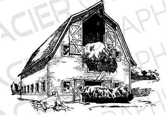 Barn clipart drawing.  illustrations vintage vector
