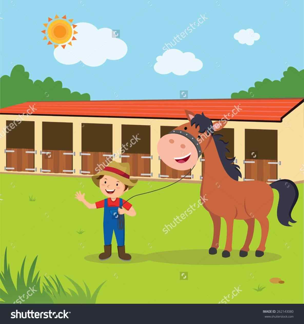 Horse stable pencil and. Barn clipart equine