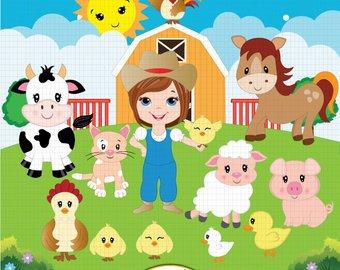 Barn clipart equine. Farm etsy animals farmyard