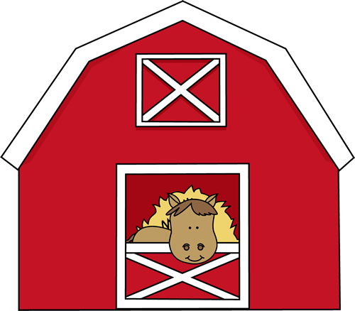 Horse in a clip. Barn clipart equine