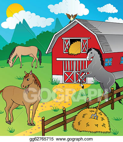 Barn clipart equine. Eps vector and horses